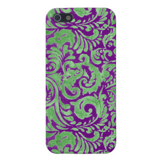 Purple Green Floral Batik iPhone 5/5S Cases