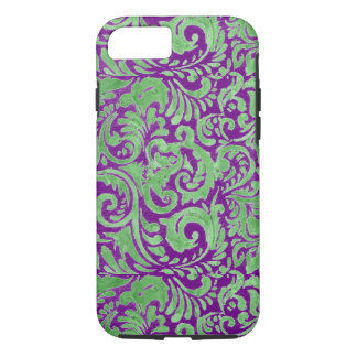 Purple Green Floral Batik iPhone 7 Case