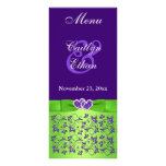 Purple, Green Floral, Hearts Menu Card Customized Rack Card