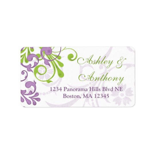 Purple Green Floral Wedding Address Mailing Label