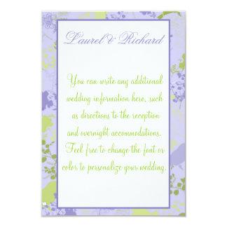 Purple & Green Floral Wedding Reception 9 Cm X 13 Cm Invitation Card