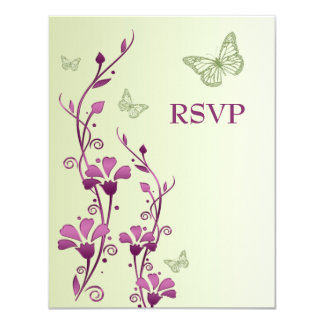 Purple, Green Floral with Butterflies Reply Card 11 Cm X 14 Cm Invitation Card