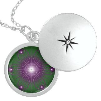 Purple Green Flower Fractel Necklace