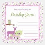 Purple Green Forest Animals Bookplate / book plate Square Sticker