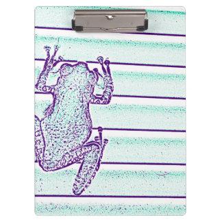 purple green frog design on stripes clipboard