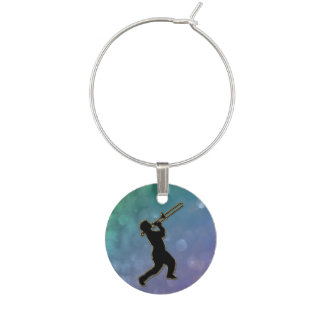 Purple Green Glitter Music Trombone Wine Charm
