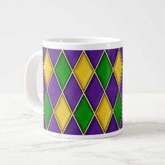 Purple Green Gold Mardi Gras Harlequin Pattern Mug Jumbo Mug