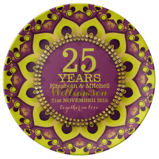 Purple Green Groovy Bohemian Anniversary Gift Plate