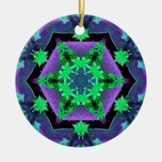 Purple Green Hexagon Kaleidoscope Mandala Ornaments
