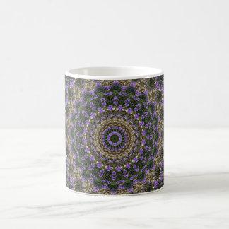 Purple green lace fractal design coffee mug
