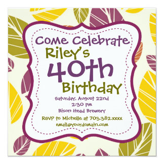Purple Green Leaves 40th Birthday Party Invitation