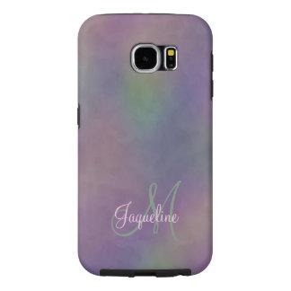 Purple Green Magenta Abstract Monogram Samsung Galaxy S6 Cases