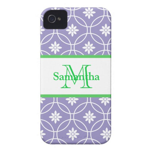 Purple Green Monogram Geometric Pattern Case-Mate iPhone 4 Cases