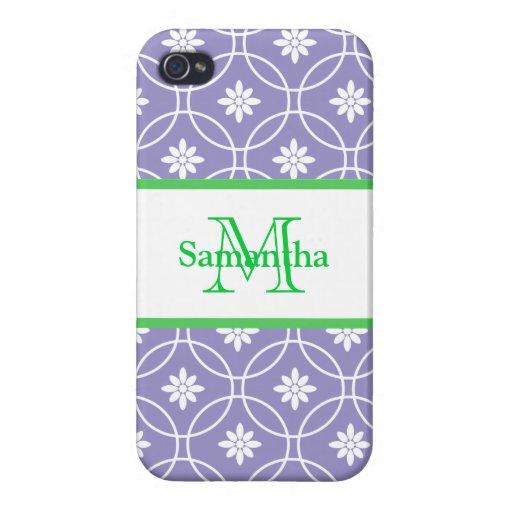Purple Green Monogram Geometric Pattern iPhone 4/4S Case