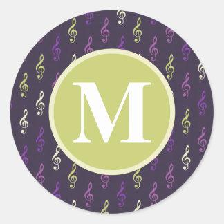 Purple Green Music Note Pattern Monogram Round Sticker