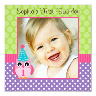 Purple Green Owl Polka Dot 1st Birthday Girl Photo 13 Cm X 13 Cm Square Invitation Card