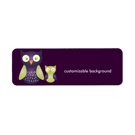 Purple / Green Owls, customisable background