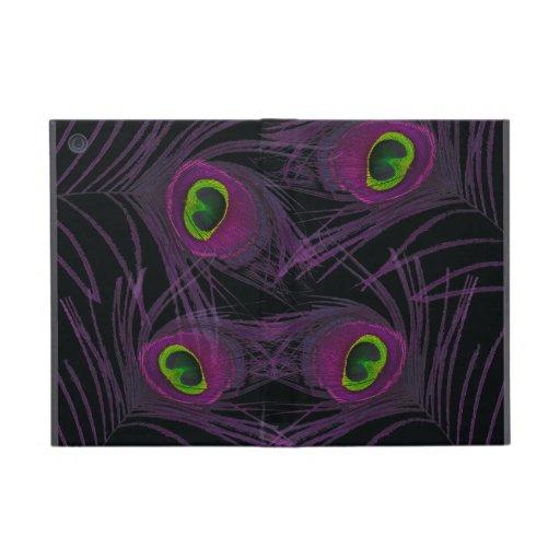 Purple & Green Peacock Feather Collage iPad Mini Case