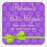 Purple Green Polka Dot Printed Bow Bat Mitzvah Sticker