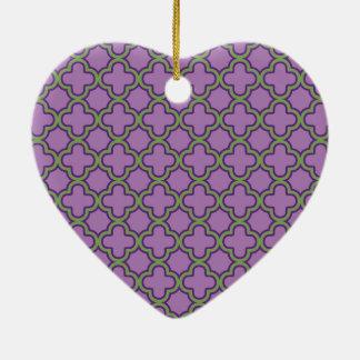 Purple & Green Quatrefoil French Classic Geometric Christmas Ornament