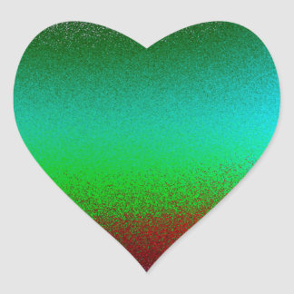 Purple Green Red Abstract Heart Sticker