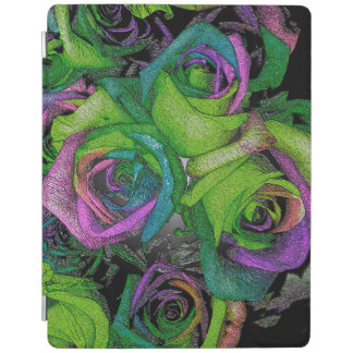 Purple Green Roses iPad Cover