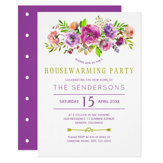 Purple green rustic boho floral housewarming party card