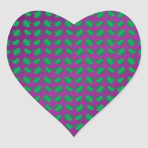 Purple green shamrocks and hearts stickers