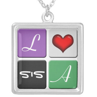 Purple Green SIS Sisters Necklace