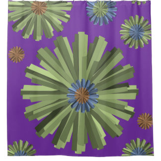 Purple green star showercurtain shower curtain