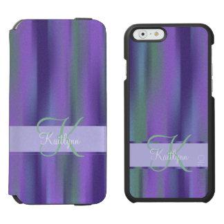 Purple Green Stripe Monogram Incipio Watson™ iPhone 6 Wallet Case
