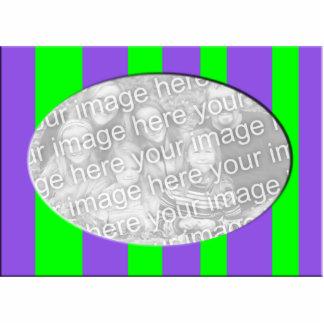 Purple Green Striped Photo Frame Standing Photo Sculpture