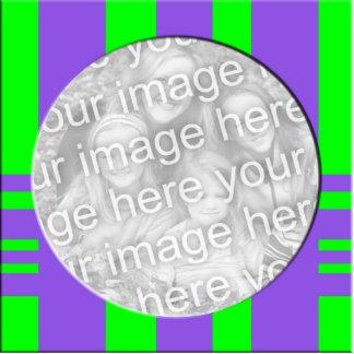 purple green stripes photo frame standing photo sculpture