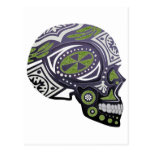 Purple Green Sugar Skull Skeleton