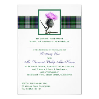 Purple Green Tartan Thistle Wedding Invitation