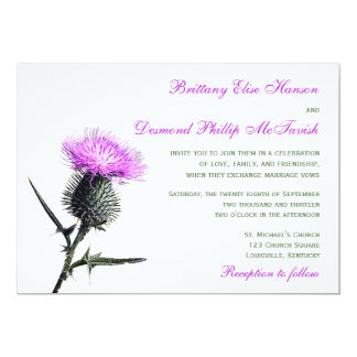 Purple Green Thistle Wedding Invitation