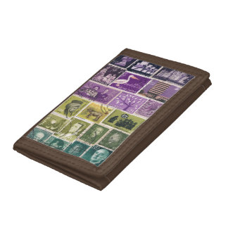 Purple Green Wallet, Abstract Landscape, Stamp Art Trifold Wallet
