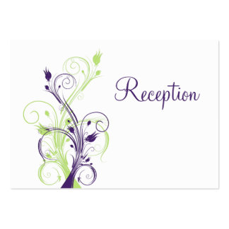 Purple Green White Floral Reception Enclosure Card Business Cards