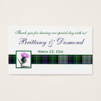 Purple, Green, White Tartan and Thistle Favor Tag Business Card