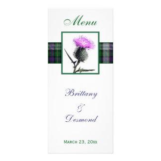 Purple, Green, White, Tartan and Thistle Menu Card Rack Card Design