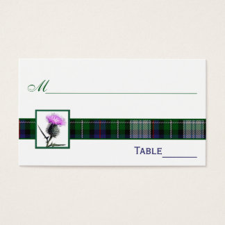 Purple, Green, White Tartan Thistle Place Cards