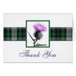 Purple, Green, White Tartan Thistle Thank You Card