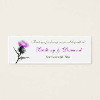 Purple, Green, White Thistle Flower Favor Tag
