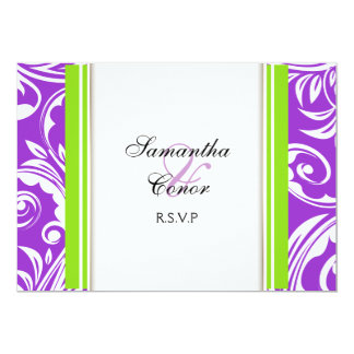 "Purple green white wedding engagement 5"" x 7"" invitation card"