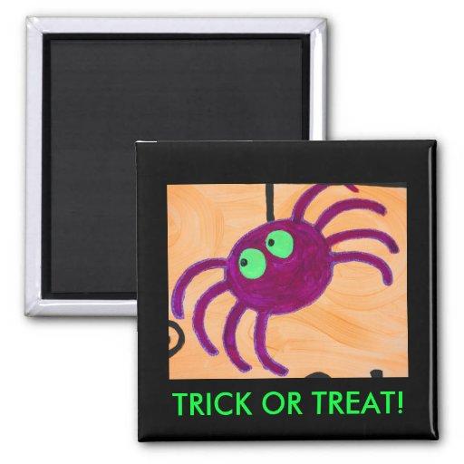 purple greeneyed spider, TRICK OR TREAT! Refrigerator Magnet