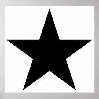 Purple Grey Black Green Five Point Star Pentagram Poster