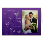 Purple Grey Butterfly Floral Photo Thank You Card