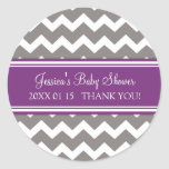 Purple Grey Chevron Baby Shower Favour Stickers