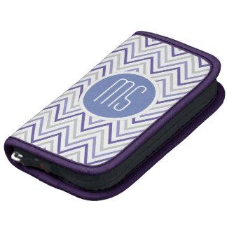 Purple Grey Chevron Zigzag Monogram Pattern Folio Planner