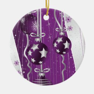 Purple, grey Christmas balls stars and snowflakes Christmas Ornament
